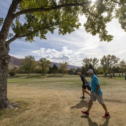 Golfers compete in the 6A boys state tournament at Davis Park Golf Course in Kaysville on Tuesday, Oct. 5, 2021.