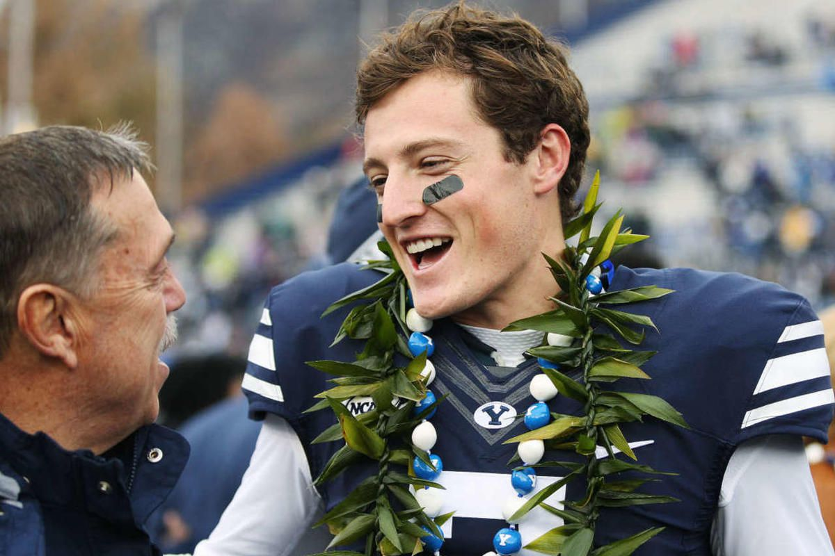 Brigham Young Cougars quarterback Christian Stewart (7) is recognized during senior day prior to the game against the Savannah State Tigers  in Provo  Saturday, Nov. 22, 2014.