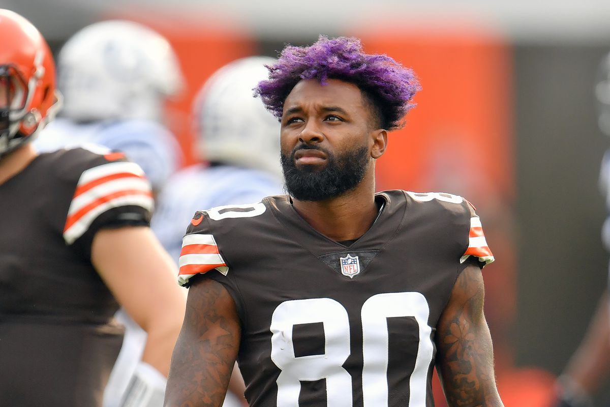 Wide receiver Jarvis Landry of the Cleveland Browns waits for a review during the first quarter against the Indianapolis Colts at FirstEnergy Stadium on October 11, 2020 in Cleveland, Ohio. The Browns defeated the Colts 32-23.