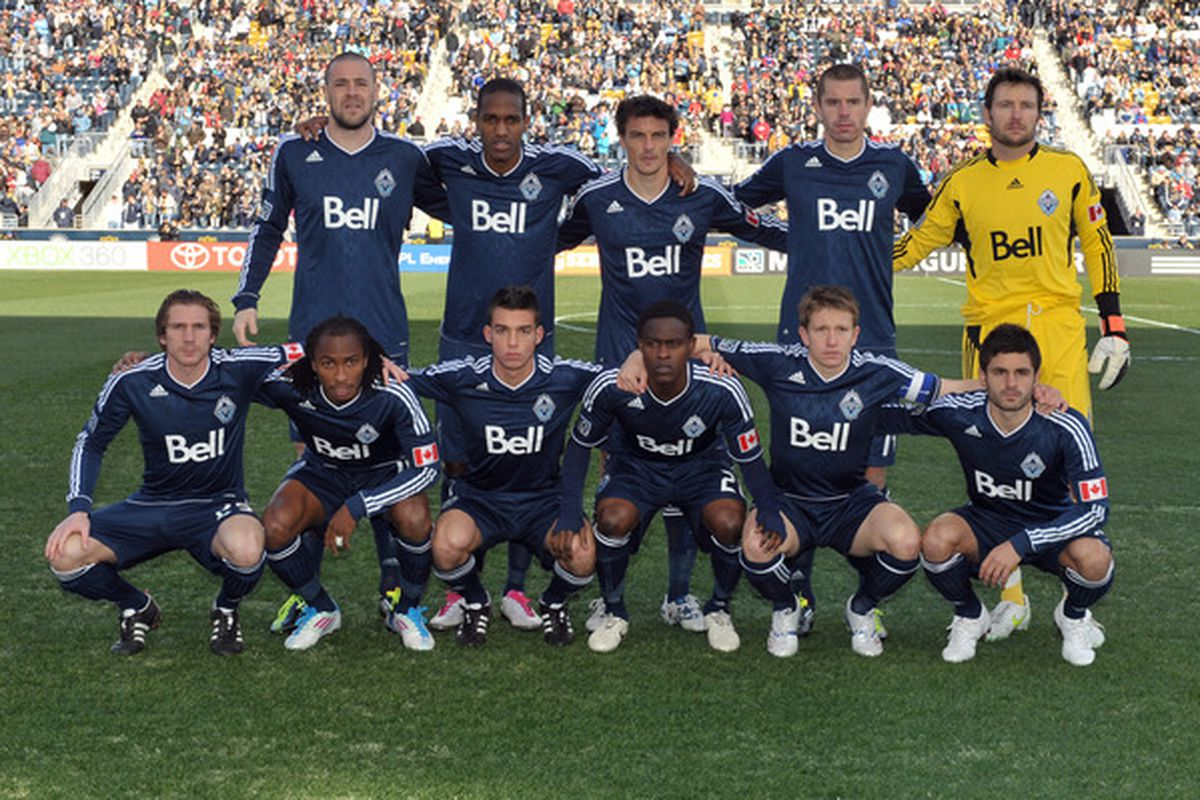 CHESTER, PA- MARCH 26:  The Vancouver Whitecaps starters pose for a photo before the game against the Philadelphia Union at PPL Park on March 26, 2011 in Chester, Pennsylvania. The Union won 1-0. (Photo by Drew Hallowell/Getty Images)
