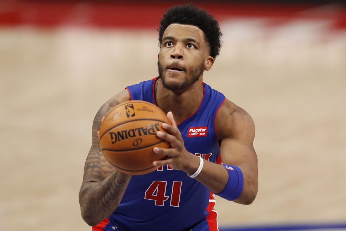 Detroit Pistons forward Saddiq Bey shoots a free throw against the Toronto Raptors during the fourth quarter at Little Caesars Arena.