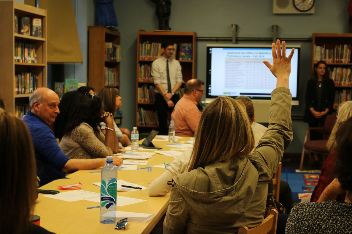 Education department officials from the Office of Student enrollment this spring answered parent questions about middle school admissions in Manhattan's District 3.