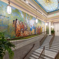 A major project during the Mesa Arizona Temple renovation was the restoration of two murals in the upper grand hall. The original artwork depicts the first president of the church, Joseph Smith, and his brother Hyrum sharing the message of the gospel to the Native American nations.