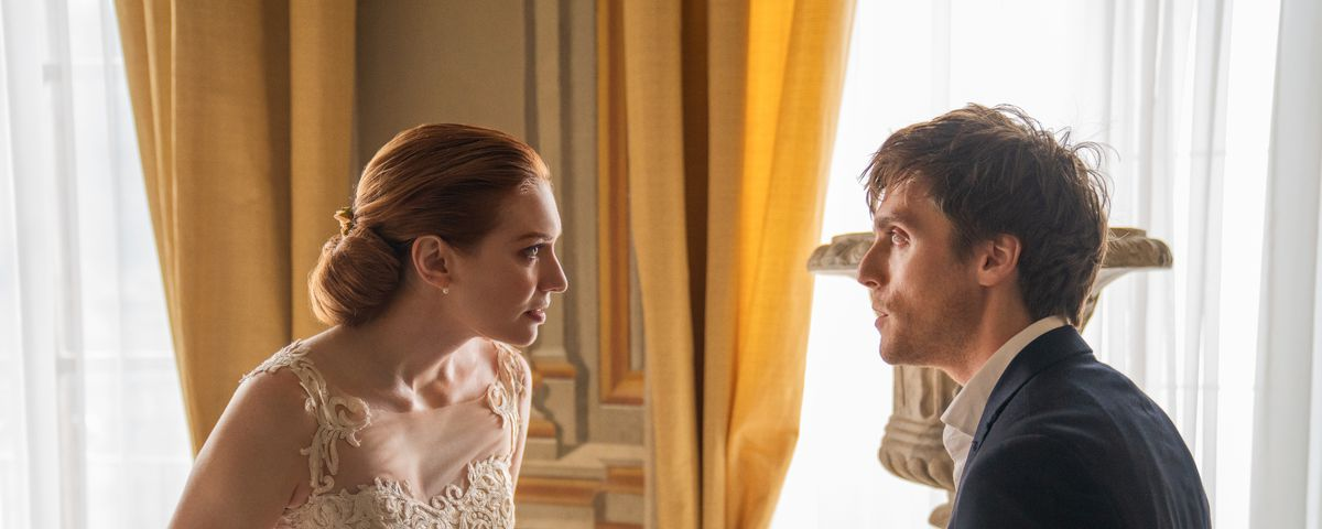A bemused-looking Jack has a tense confrontation with his very upset sister Hayley in a side room at her wedding.