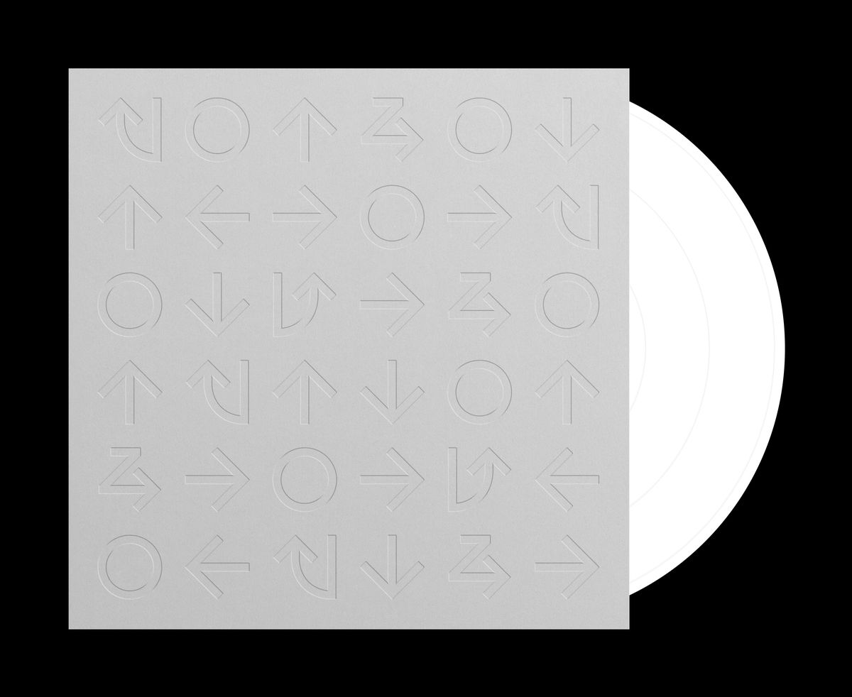 A vinyl sleeve with Street Fighter move symbols on it holds a vinyl disc