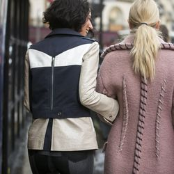 Acne coat (right) spotted on the street.