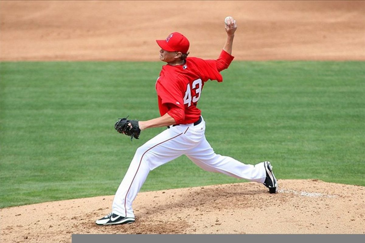 Mar 11, 2012; Tempe, AZ, USA; Los Angeles Angels starting pitcher Garrett Richards (43) pitches during the second inning against the Cleveland Indians at Tempe Diablo Stadium.  Mandatory Credit: Jake Roth-US PRESSWIRE