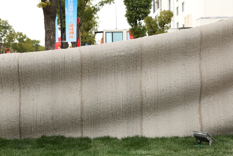 Close up of 3D printed concrete wall
