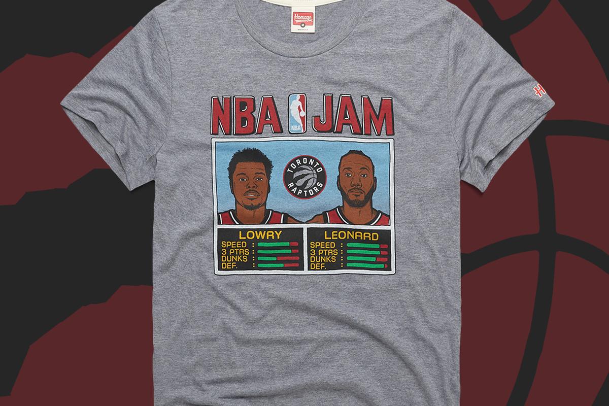best loved 1f609 881fb Get the Kyle Lowry x Kawhi Leonard Raptors NBA Jam T-shirt ...