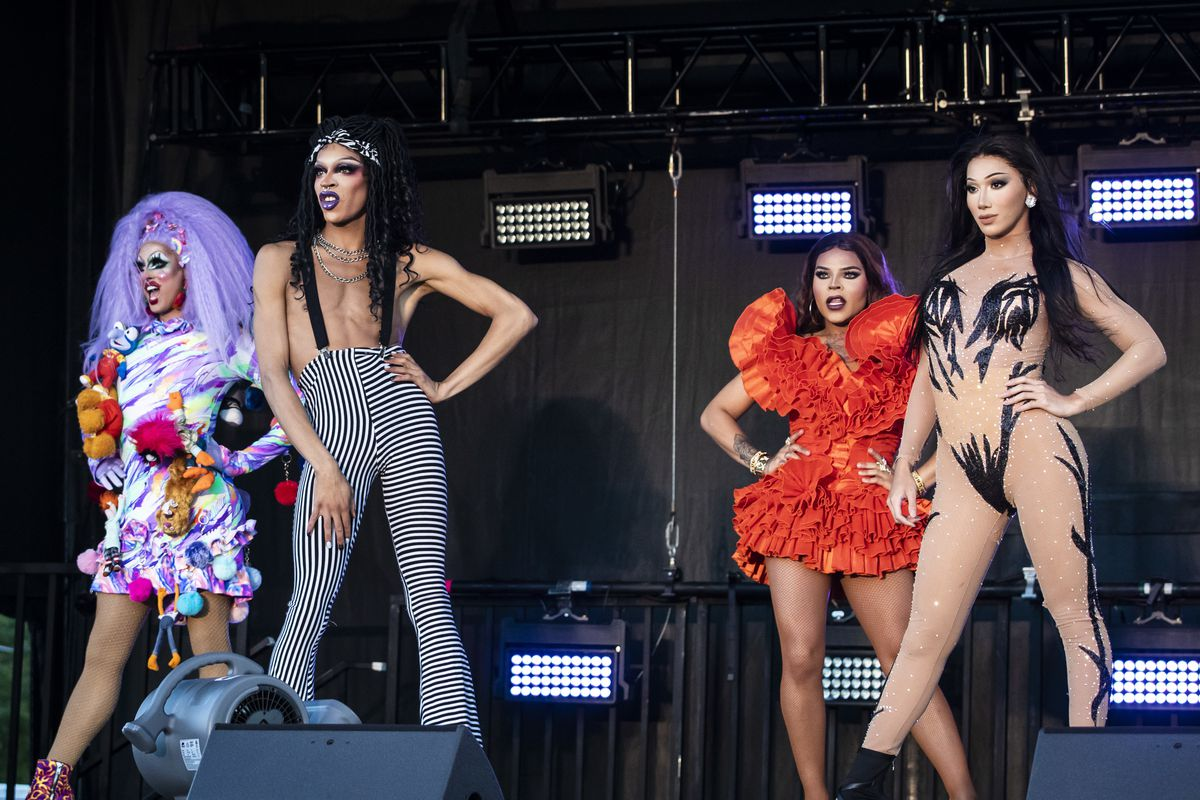 Crystal Methyd (from left), Yvie Oddly, Vanessa Vanjie Mateo and Plastique Tiara perform together during Drive 'N Drag Friday night at Soldier Field.