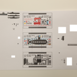 LCD design diagrams for each of the three different synths.