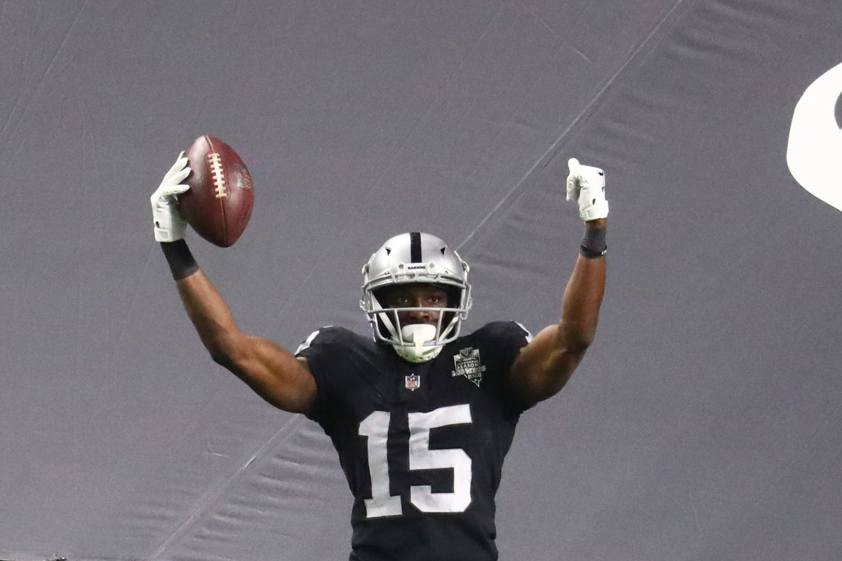 Raiders wide receiver Nelson Agholor (15) celebrates a first quarter touchdown against the Kansas City at Allegiant Stadium