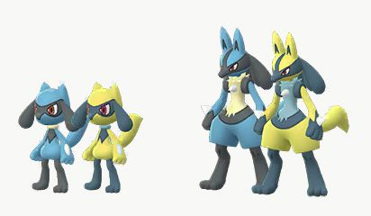 Riolu and Lucario, in their Shiny Forms, are neon yellow
