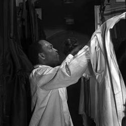 """Pullman porter aboard the """"Capitol Limited"""" bound for Chicago in 1942.  