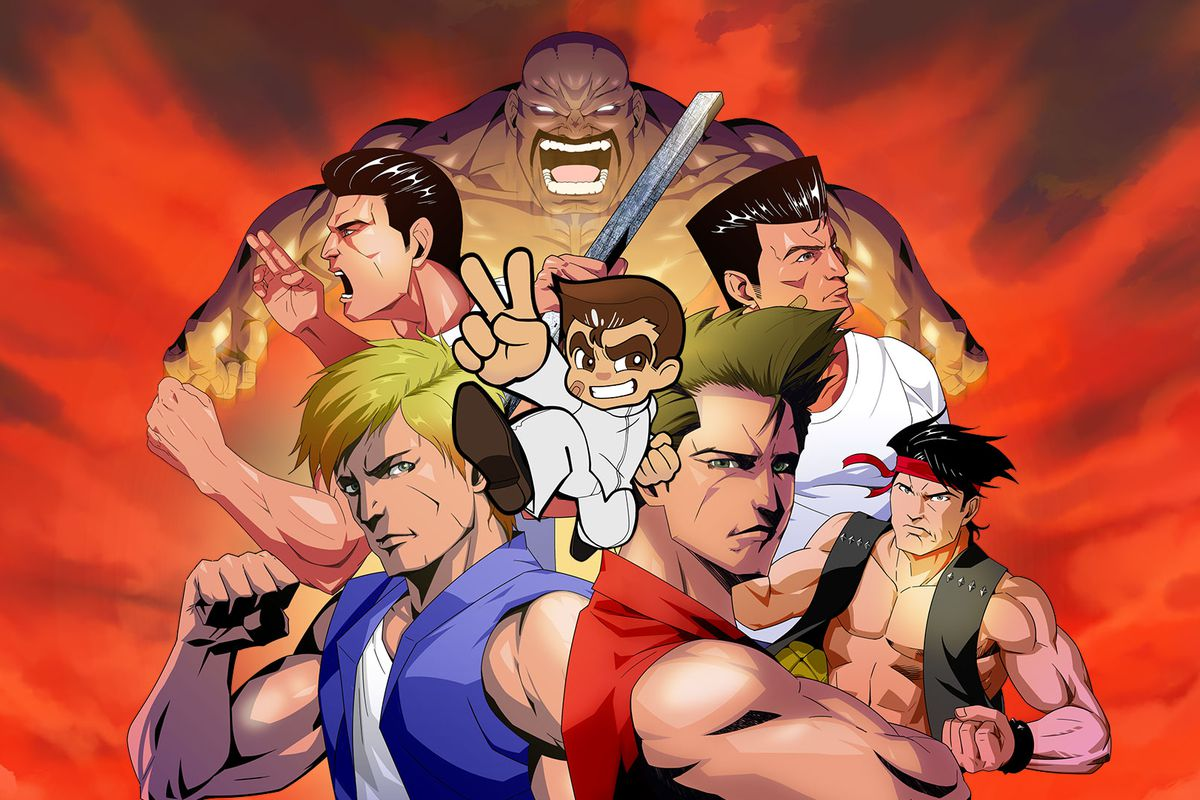 A montage of muscular, colorfully costumed fighters advertising Arc System Works' Double Dragon & Kunio-kun Retro Brawler Bundle.