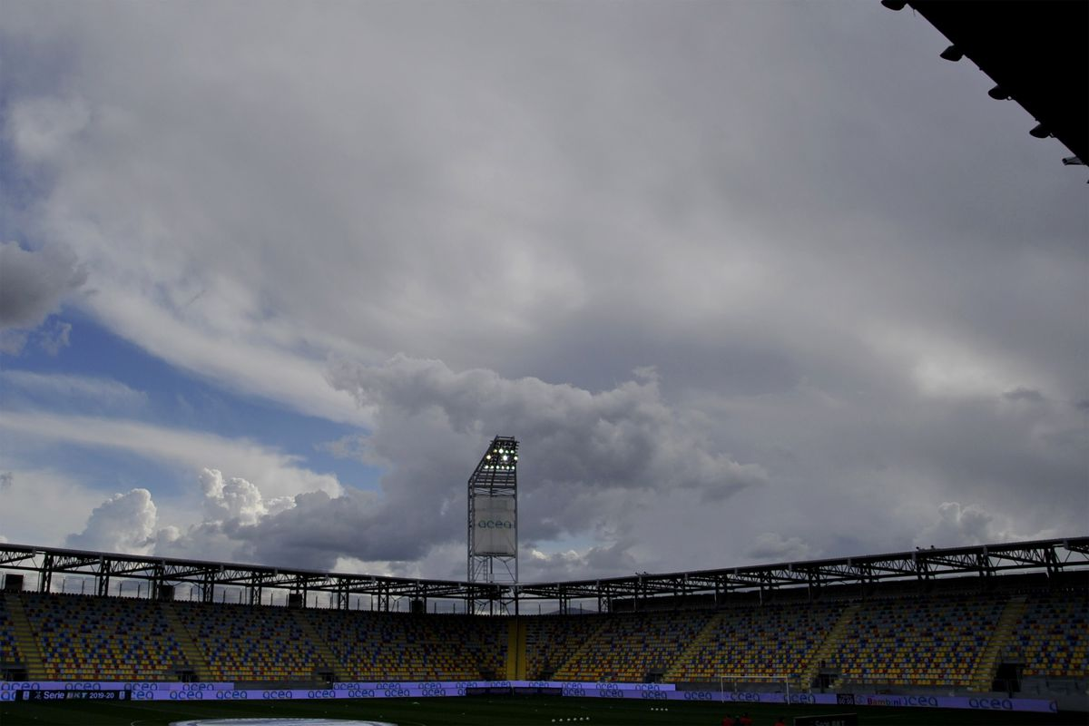 Empty stands at the Benito Stirpe Stadium in Frosinone for...