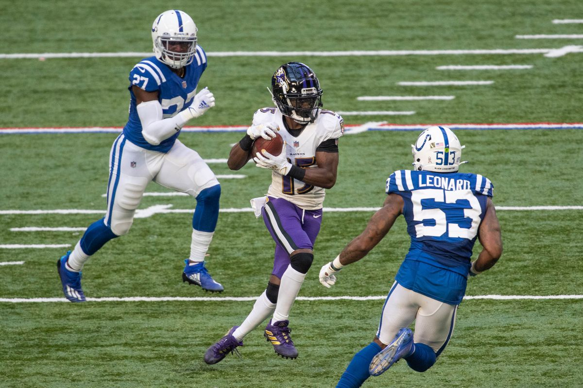 Baltimore Ravens wide receiver Marquise Brown (15) catches the ball in the second half against the Indianapolis Colts at Lucas Oil Stadium.