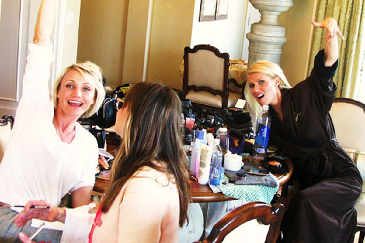 Aw: Besties Gwyneth Paltrow and Cameron Diaz totally got ready for the Oscars together. Image via GOOP