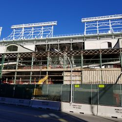 Wide view of concrete panels being removed
