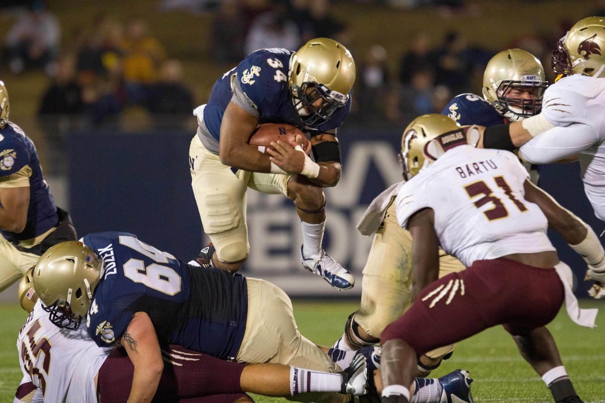 Noah Copeland rushing into the Bobcats defense in Navy and Texas State's first meeting in 2012.