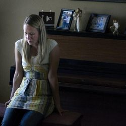 Arianne Brown talks about her sister, Megan Einfeldt, who committed suicide six years ago. Brown sits in her home in Eagle Mountain on Wednesday, April 24, 2013.