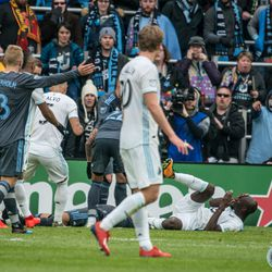 Ike Oparra goes down with a head injury during the inaugural match at Allianz Field