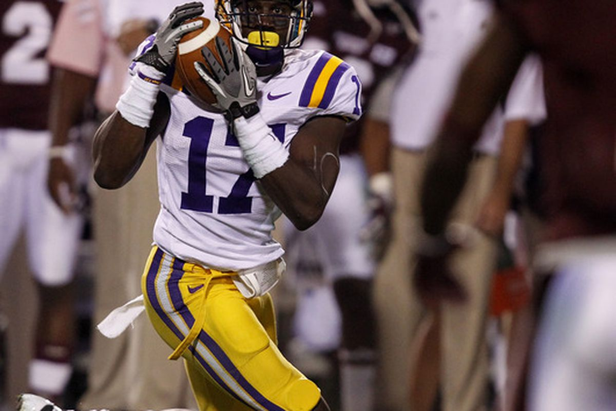 Cornerback Morris Claiborne #17 of the LSU Tigers intercepts a pass against Mississipppi State. Claiborne could turn some heads come draft time.