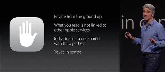 Apple slide describing privacy features of its News app