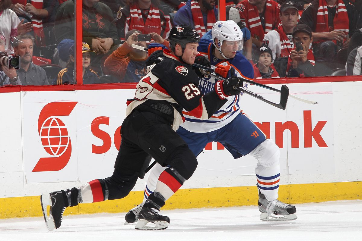 Chris Neil and Ladislav Smid take time out from the game to work on their Argentine tango