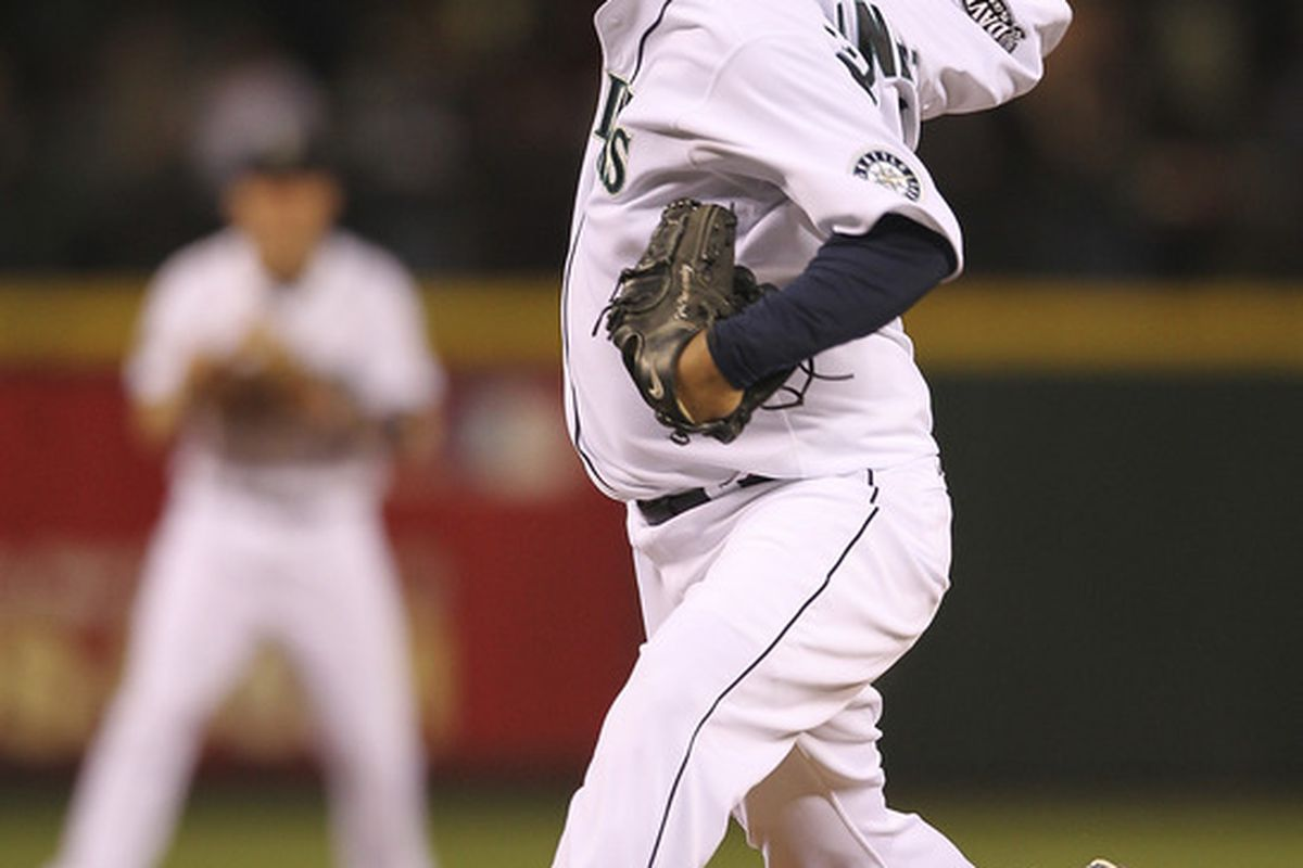 SEATTLE - AUGUST 31:  Starting pitcher Felix Hernandez #34 of the Seattle Mariners pitches against the Los Angeles Angels of Anaheim at Safeco Field on August 31, 2011 in Seattle, Washington. (Photo by Otto Greule Jr/Getty Images)
