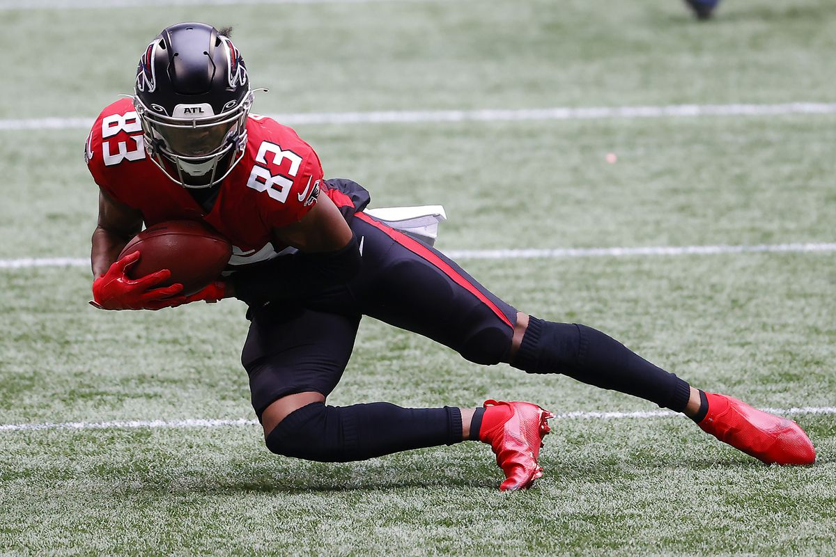 Russell Gage of the Atlanta Falcons makes a catch against the Detroit Lions during the second half at Mercedes-Benz Stadium on October 25, 2020 in Atlanta, Georgia.