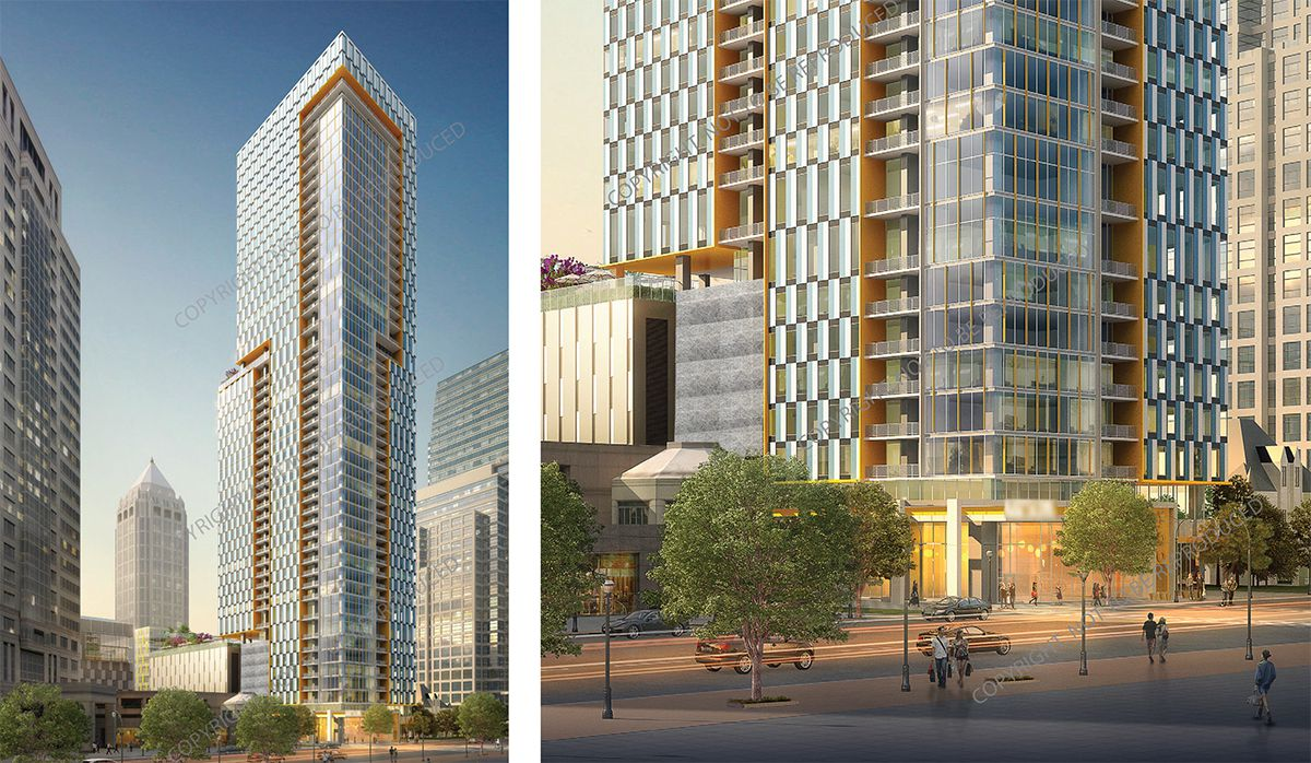 Two renderings show the updated vision for 1138 Peachtree Street's sleek, modern mixed-use tower.