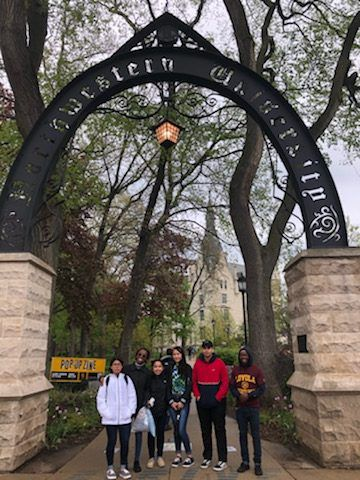 Harrison High School AVID students pose while visiting Northwestern in Chicago this spring.