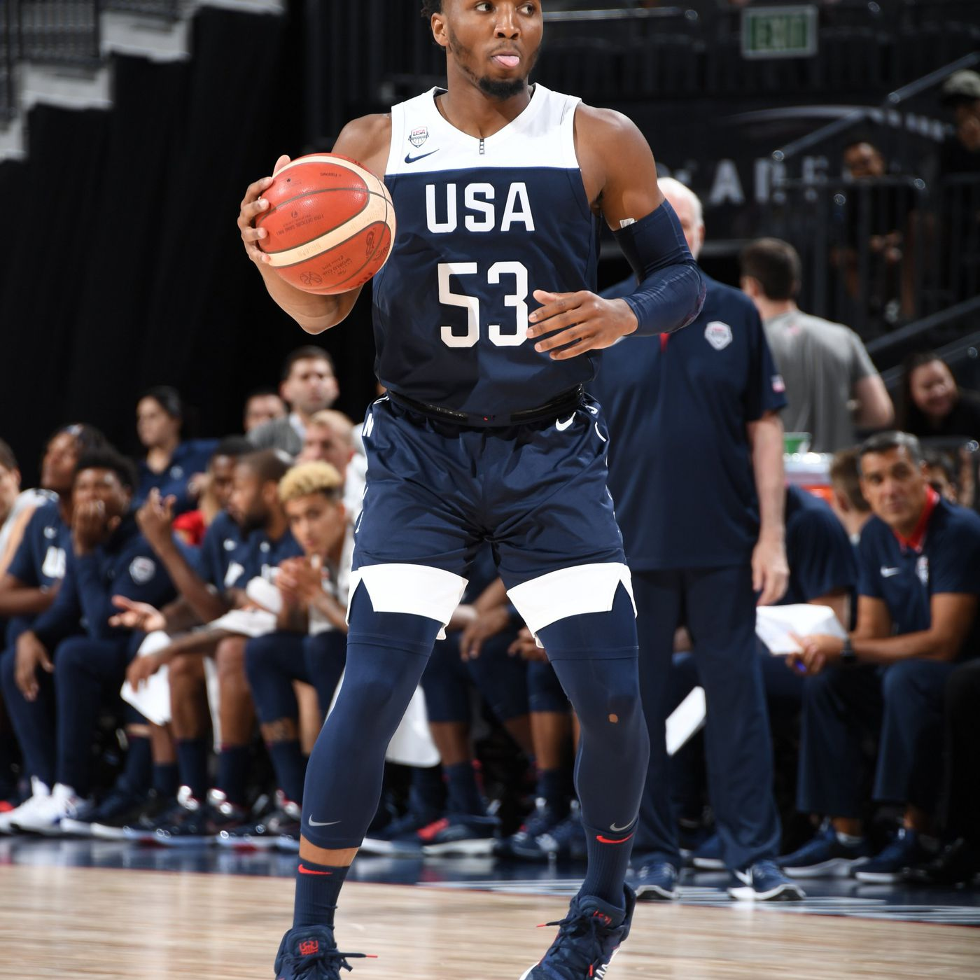 new product 116f9 12d31 Donovan Mitchell, Team USA Blue cruise in scrimmage - SLC Dunk