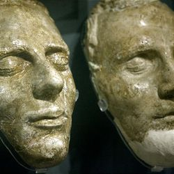 The death masks of Joseph Smith and his brother Hyrum Smith at the Church History Museum in Salt Lake City.