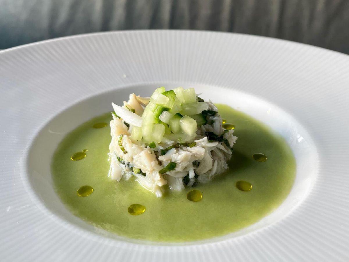 Cucumber Gazpacho; blue crab, basil vinegar, scallion from the Grey in Savannah, GA.