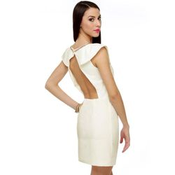 """<a href=""""http://www.lulus.com/products/glam-i-am-beaded-ivory-dress/46267.htm"""">l Lulu's Glam Beyond beaded ivory dress</a>, $55 lulus.com"""