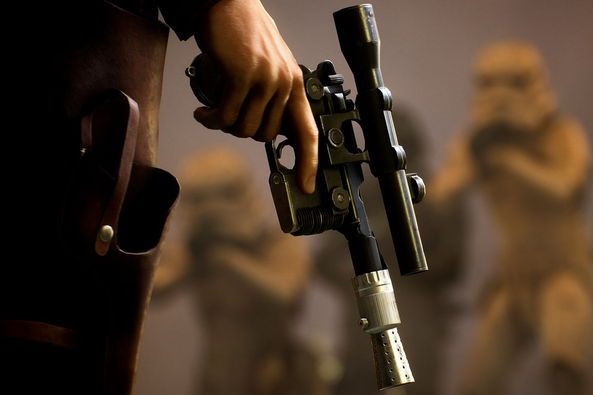 Solo holding his blaster in Star Wars Battlefront 2