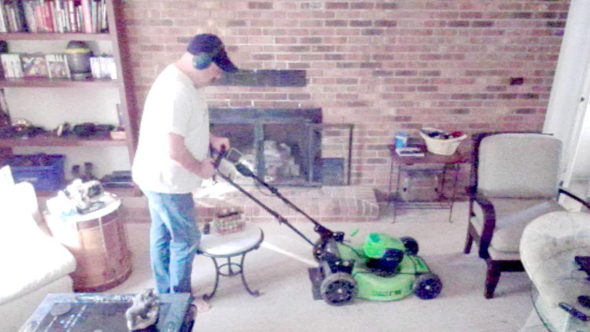 Owen Good mowing his living room in Rocket Punch