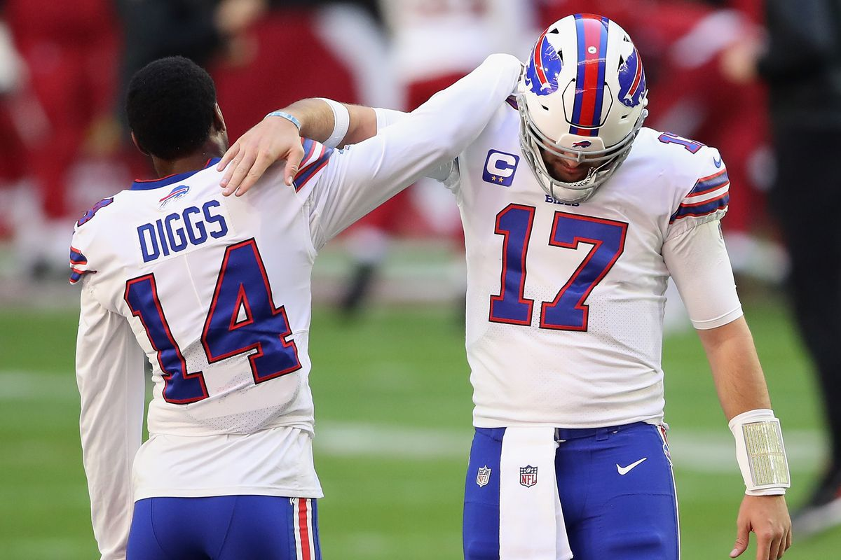 Quarterback Josh Allen and wide receiver Stefon Diggs of the Buffalo Bills talk before the NFL game against the Arizona Cardinals at State Farm Stadium on November 15, 2020 in Glendale, Arizona.