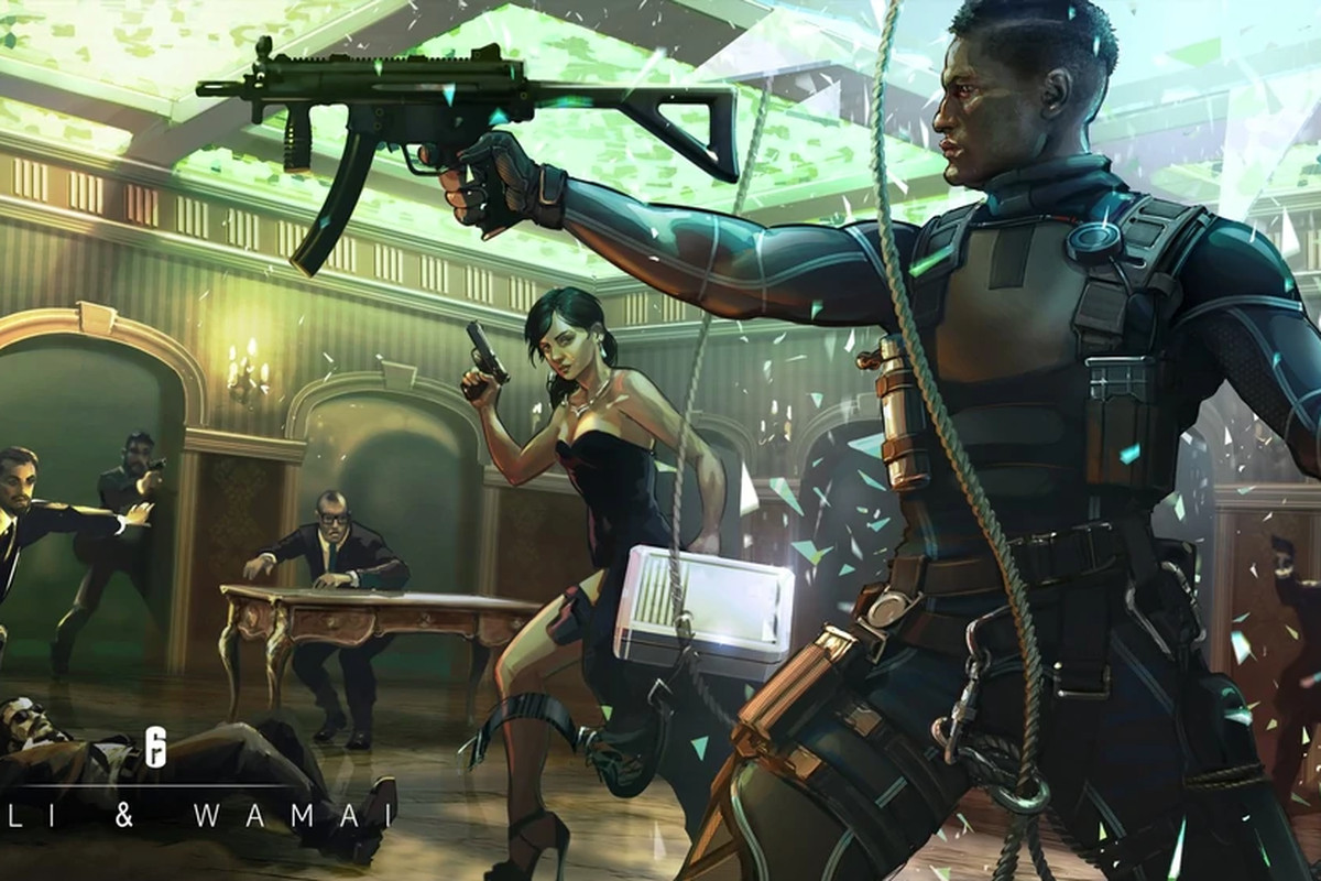 A woman in a gown, with a briefcase and gun holster strapped to her leg looks at a man in covert combat gear raising a submachine gun, apparently completing a heist operation inside a casino.