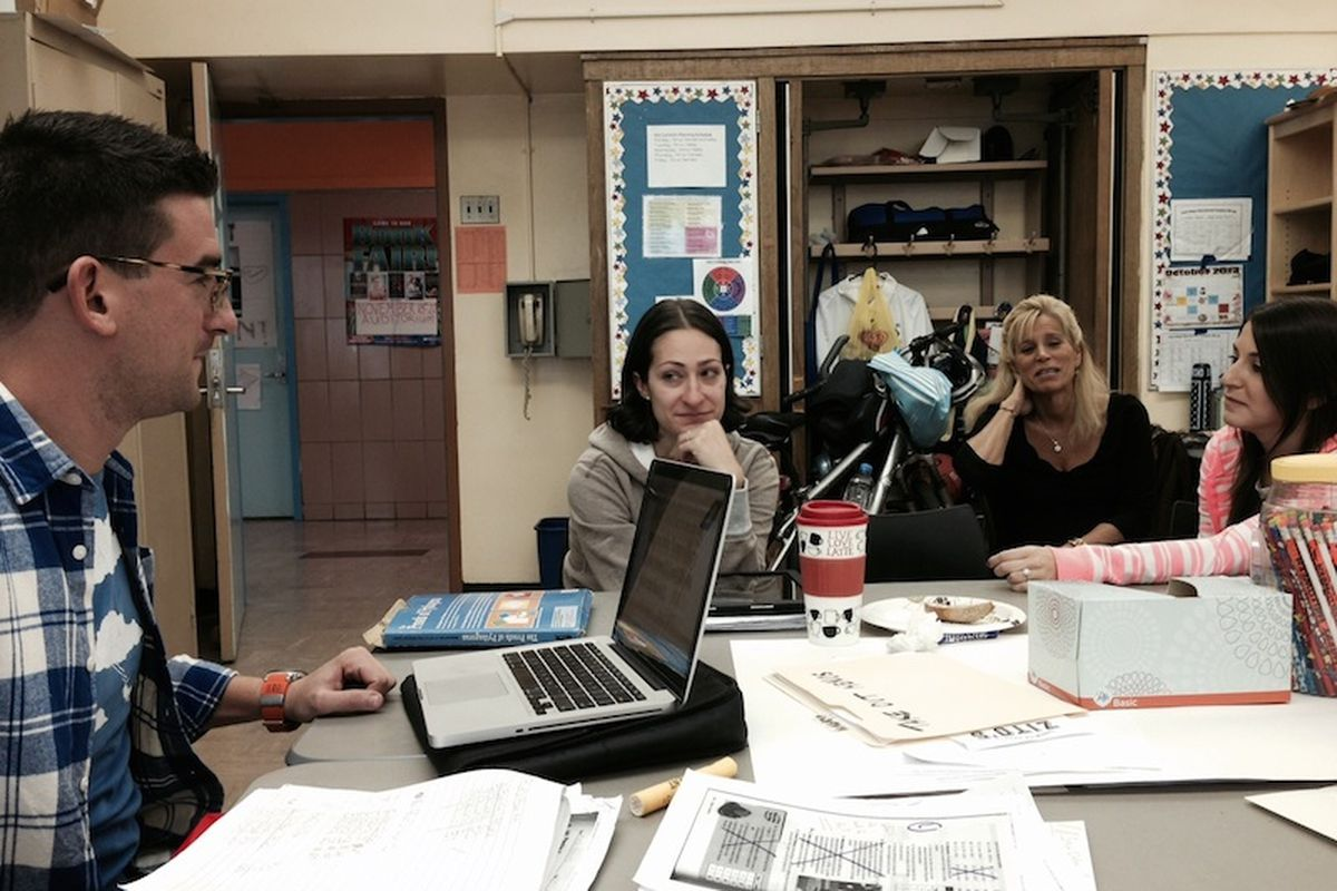 Teachers collaborating at M.S. 88, one of the city's host schools, last year.