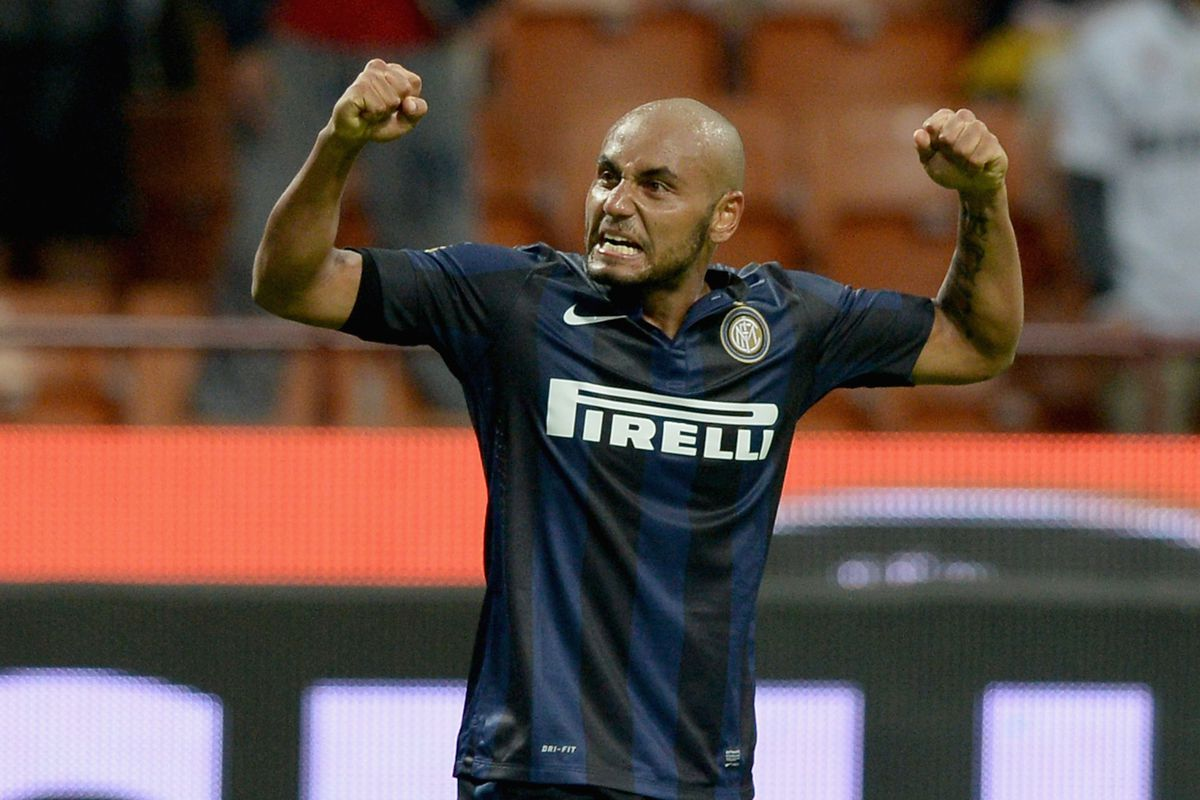 Il Divino, Jonathan, celebrates his goal by flexing his muscles.