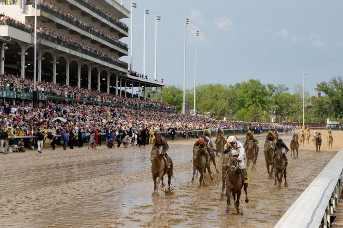 LOUISVILLE, KY - MAY 01:  Calvin Borel atop Super Saver crosses the finish line to win the 136th running of the Kentucky Derby on May 1, 2010 in Louisville, Kentucky.  (Photo by Jamie Squire/Getty Images)