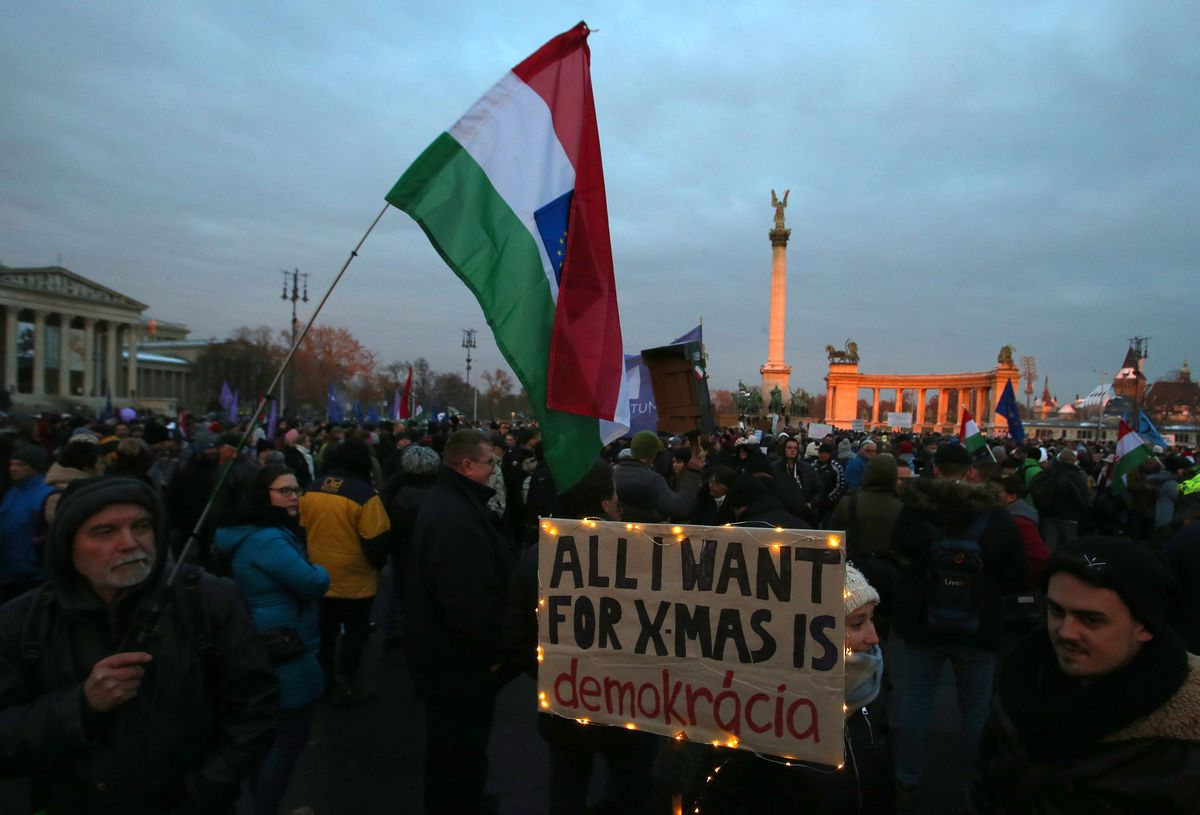 Anti-Orbán protests in Budapest, Hungary, on December 16, 2018.