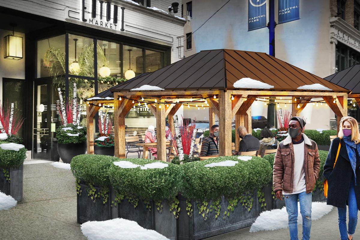 A rendering of a pergola outside of Eatori Market.