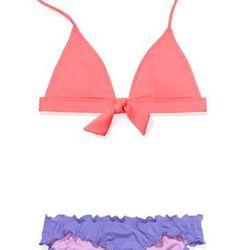 "<b>Victoria's Secret</b> Tie-Front Triangle Top in coral blossom and Cheeky Lowrise in Purple Punch, <a href='http://www.victoriassecret.com/swimwear/bikini-mixer#/top_293945/bottom_297161/bc_V365086/tc_V359552"">$18.50—$30.50</a> each"