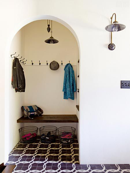 Mudroom Nook With Pulley Pendant And Wall Hooks