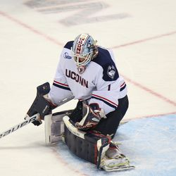 UConn's Tanner Creel (1) makes a glove save.