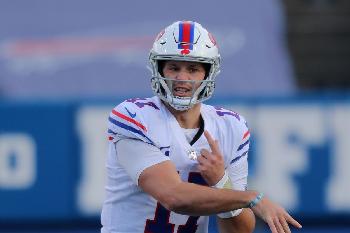 Josh Allen of the Buffalo Bills throws a pass during a game against the Los Angeles Chargers at Bills Stadium on November 29, 2020 in Orchard Park, New York.